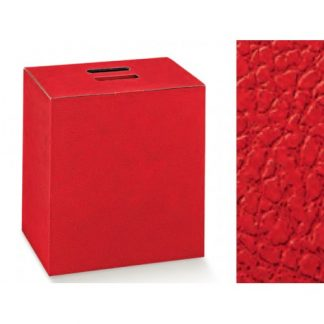 Scatola cartone rossa con manico mm 305x225x350 effetto pelle