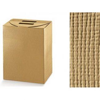 Scatola cartone cubotto con manico seta oro mm 245x190x340